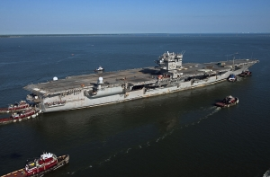 The aircraft carrier USS Enterprise (CVN 65) makes its final voyage to Newport News Shipbuilding.